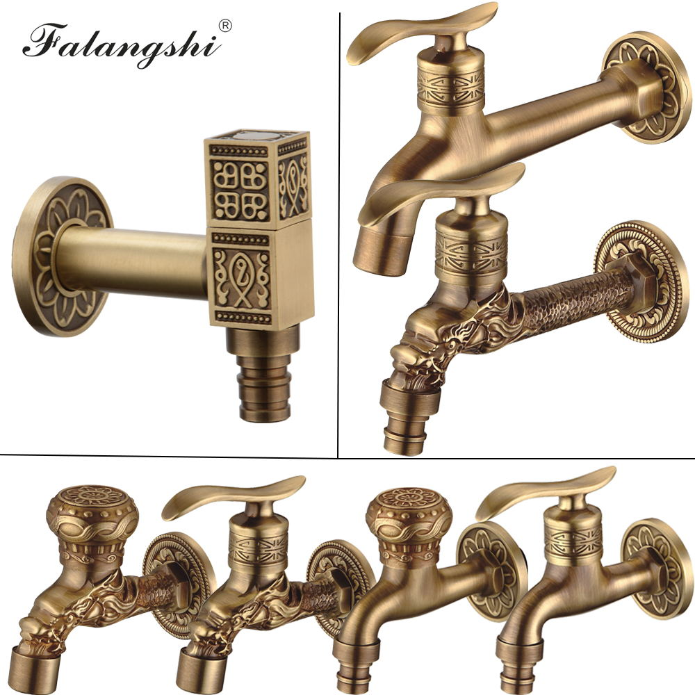Antique Carved Bibcock Brass Faucet Decorative Outdoor Garden Taps for Washing Machine Luxury Toilet Mop Faucet WB8503