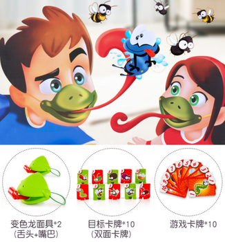 Funny Desktop Game Toys Chameleon Lizard Mask Wagging Tongue Lick Cards Board Game for Children Family Party Toys shark bite game funny toys desktop fishing toys kids family interactive toys board game
