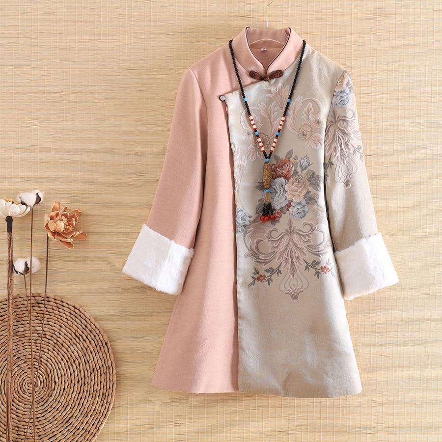 Embro moulin automne femmes manteau top Style chinois rétro Jacquard 3/4 manches élégant lâche dame épissure laine trench manteau femme S-2XL