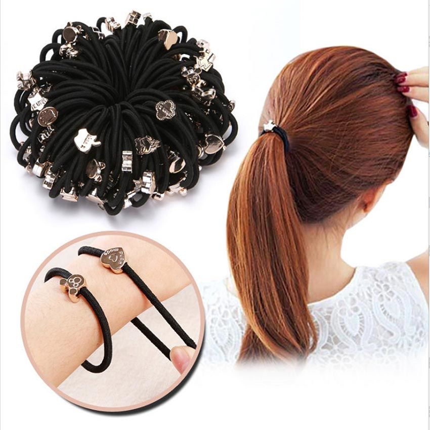 10PCS/New Styles Asia Fashion Cute Rope Gum Rubber Band  Black Scrunchie Elastic Ponytail Hair Accessories Hair Ties For Girl