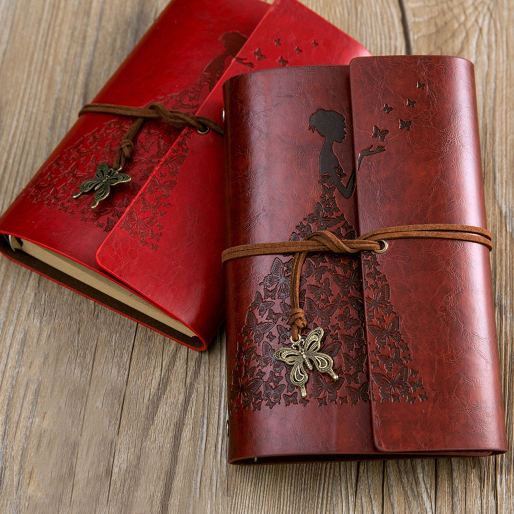 Kraft Paper Strap Diary Book Notebook Butterfly Decoration Portable Classic Creative Gift Notebooks