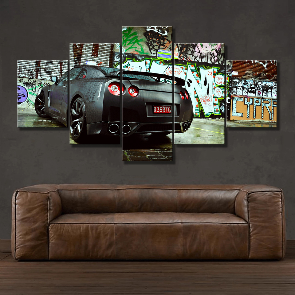 Inch : 10x15 10x20 10x25cm, Color: Canvas Canvas Painting HD Print Modular Artwork Modern 5 Pieces Nissa Skyline GTR Car Pictures Home Decorative Wall Art Unique Poster - Size