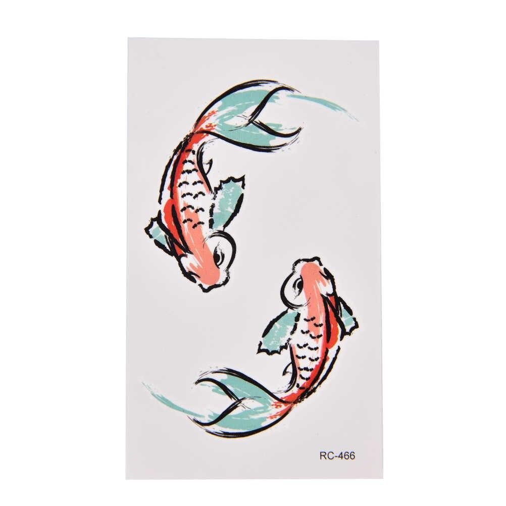 3D Ikan Emas Tahan Air Sementara Tato Ikan Mas Gadis Tatto Stiker Flash Tato Tato Palsu 1 Lembar