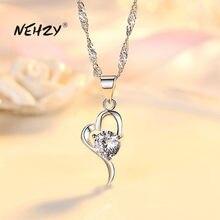 NEHZY 925 sterling silber neue frauen mode schmuck hohe qualität kristall zirkon herz-förmigen hohl anhänger halskette länge 45CM