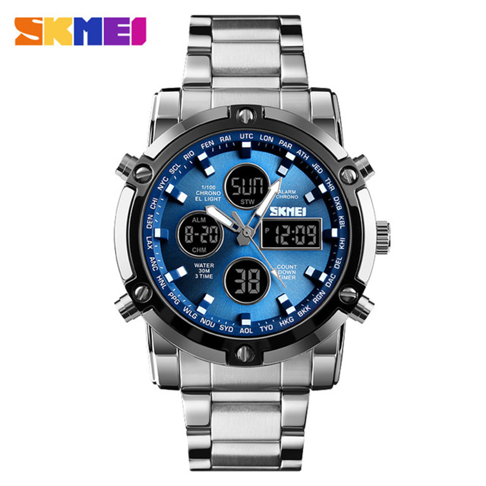 <font><b>SKMEI</b></font> Digital Quartz Watch Men Outdoor Sports Digital Watch Countdown Full Steel Strap Wristwatch Clock Relogio Masculino image