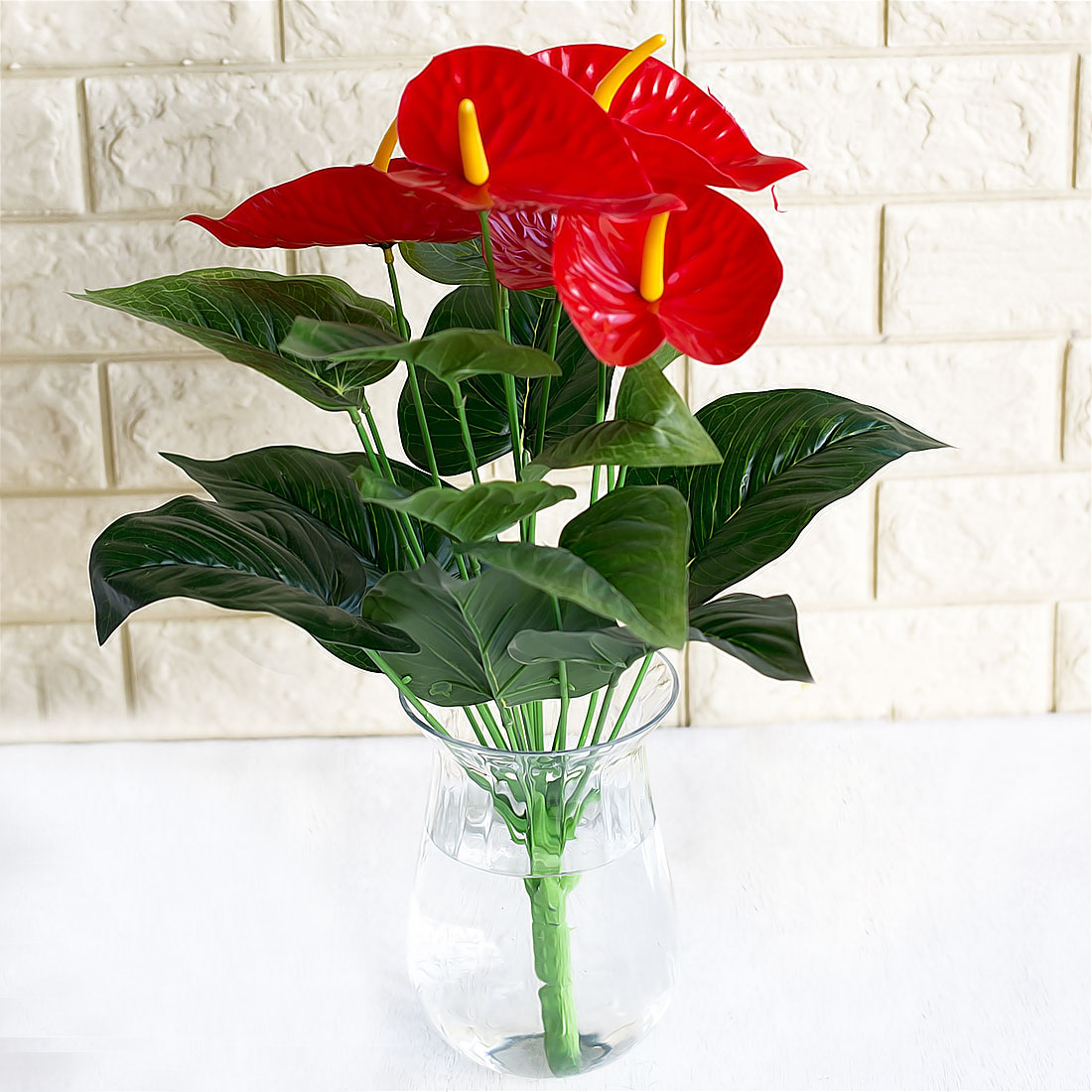Artificial Small Anthurium Leaves Plant 12 Branches Fake Flower Home Decor
