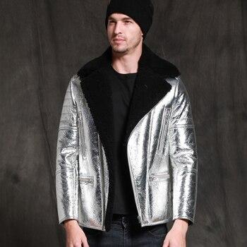 sheepskin coat isaco SANI Unique New Silver Sheepskin Fur Coat Men Winter Real Sheepskin Jacket Formal Businessmen Genuine Leather Clothing