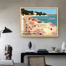 Vintage viaje nostálgico la hora del verano francés riazul póster lienzo artístico póster sala de estar hogar Decoración de la pared sin marco