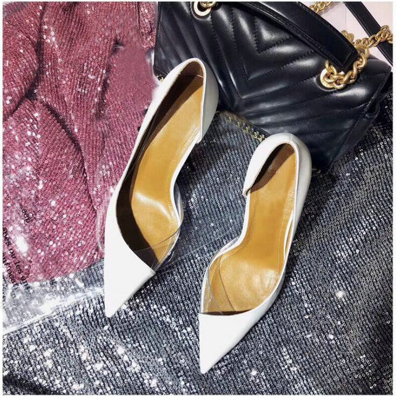 Brand Sexy Ladies Thin Heels Pumps Pointy Toe Stiletto Transparent Side space Women High Heels Wedding OL shoes 12CM OO-20