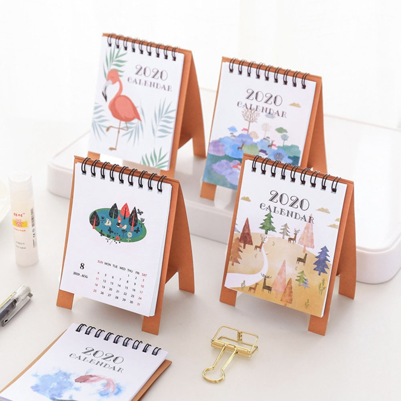 2020 Cute Cartoon Animal Mini Desk Calendar 8 Style School Office Planner Kawaii Agenda Table Calendar New Arrive Hot Sale