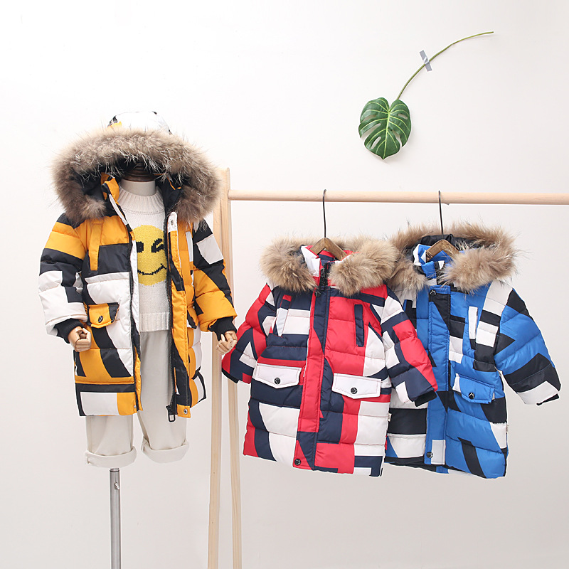 Winter jacket for girls Warm Thick Fur Collar Hooded long down children's clothing kids outerwear toddler parka boy snowsuit