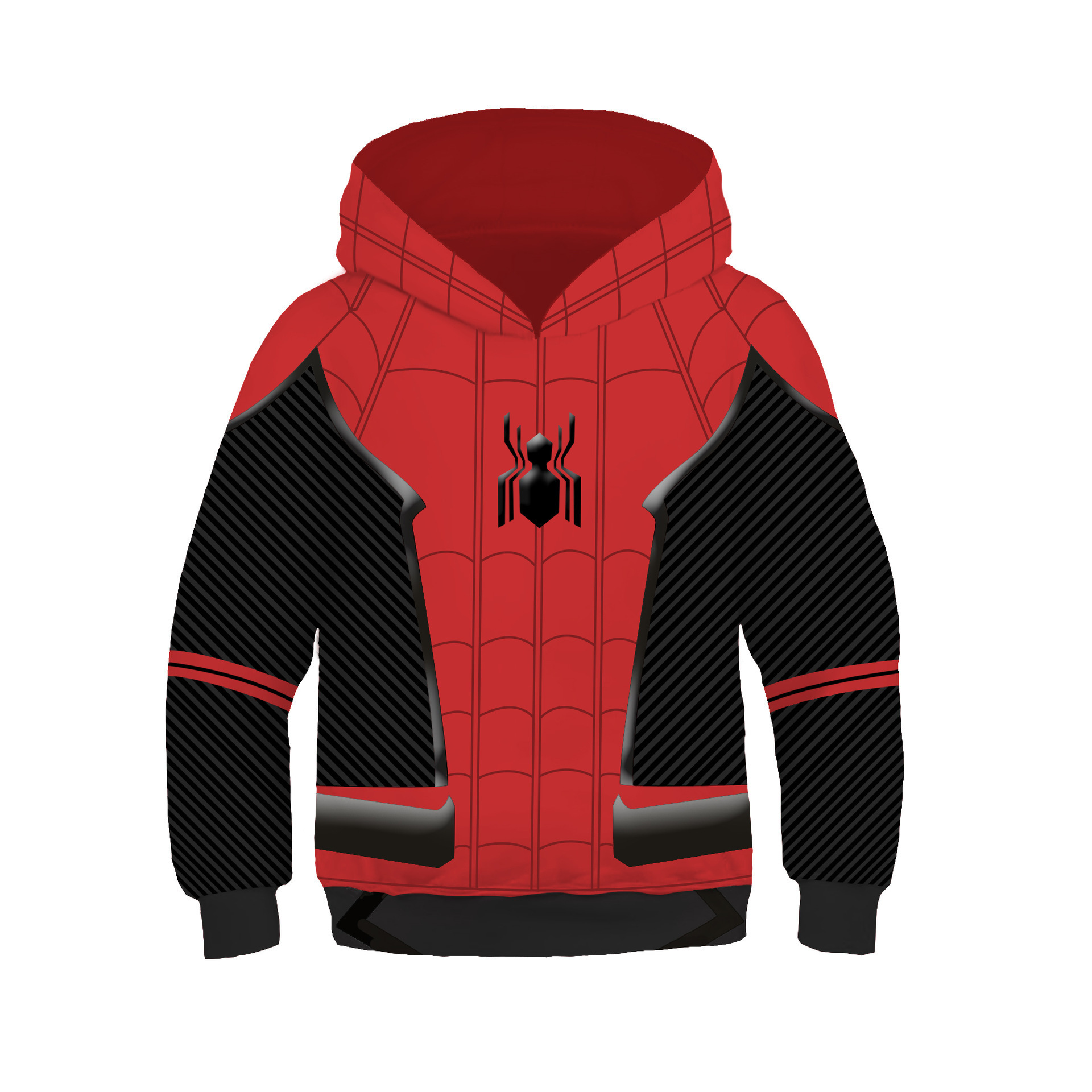 Kids Boys Spider Hoodies Cosplay  Far From Home Two Layer 3D Printed Costume  Super Hero  Sweatshirt For Halloween Party