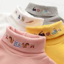 Embroidery Turtleneck Long Sleeve Blouse Girls Autumn Winter Clothes Bottoming Thicken Baby Clothing Children Cotton Tops Blouse