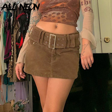 ALLNeon Indie Aesthetics Solid Low Rise Corduroy Skirts Y2K Vintage with Belt A-line Brown Skirts Fall 90s Fashion Short Bottoms