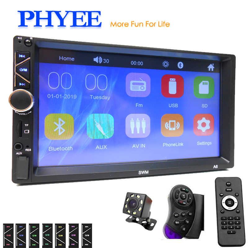 "Car Radio Stereo 2 Din Mirror Link 7"" HD MP5 Player Bluetooth Handsfree A2DP USB TF Aux AV Video Audio System Head Unit PHYEE A6"