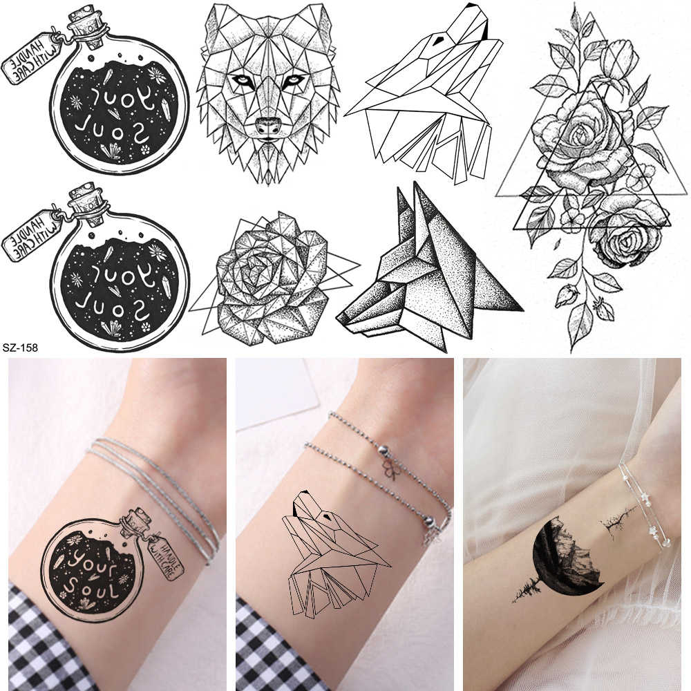 """Your Soul"" Temporary Tattoo Stickers Women Arm Art Geometric Wolf Waterproof Tatoos Body Ankle Black Unicorn Fake 3D Tattoo"