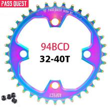 Pass quest Mountain Bicycle Titanium plating Chainwheel Chainring BCD94 Narrow Wide 32T/34T/36T/38T/40T MTB Bike Chain Wheel pass quest 94bcd titanium plated mtb narrow wide chainring chain ring 32t 34t 36t 38t 40t bike chainwheel chain wheel crankset