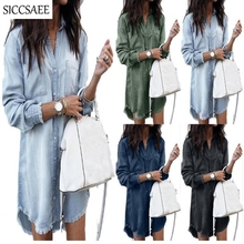 купить Denim Maxi Shirt Dress Sexy Casual Ropa Mujer Asymmetrical Dresses Tassels Mini Loose Bestidos Roupas Femininos Jeans Robe Femme дешево