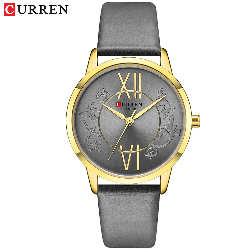 Women Watches Relojes Para Mujer <font><b>CURREN</b></font> Fashion Luxury Ladies Watch Casual Quartz Grey Leather Strap Wristwatch Female Clock image