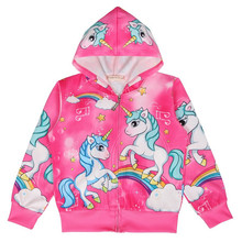 Kids Jacket Unicorn Cartoon Girls Hooded Jacket Spring Autumn Long Sleeve Zipper Coat Anime Elsa Hoodies Costume Baby Girl Coat цена 2017