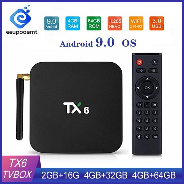 Tivi Box Android 9.0 Smart TV Box TX6 Android TV Box RAM 4GB 64GB Allwinner H6 Quad Core USD3.0 2.4G/5 GHz Wifi 4K TVBOX Tanix TX6