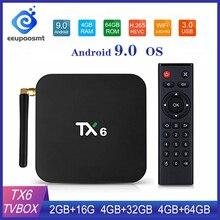 Tv Box Android 9.0 Smart Tv Box TX6 Android Tv Box 4 Gb Ram 64 Gb Allwinner H6 Quad Core USD3.0 2.4G/5Ghz Wifi 4K Tvbox Tanix TX6