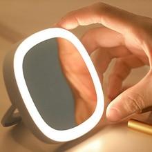 Светодиодный освещенное дорожное зеркало для макияжа складной компактный ручной зеркало с подсветкой ванная комната зеркало управляемая подставка для настольного путешествия