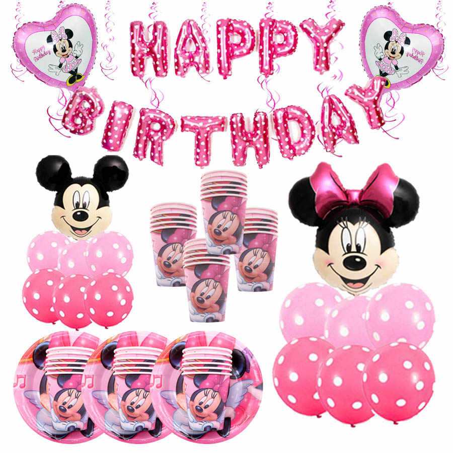 Disposable Tableware Set Minnie mouse Paper Plates Cups Mickey Mouse Theme Birthday Party Decor Kid  Favor Party Supplies