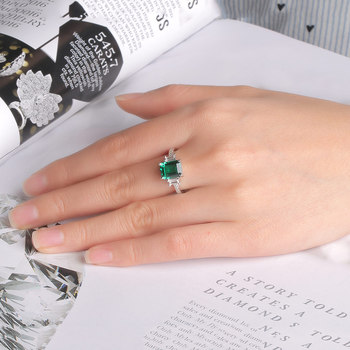 Green Emerald 925 Sterling Silver Ring 4