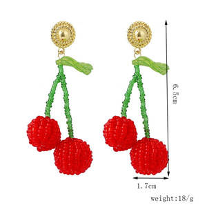 2020 Ins Handmade Fruit Pineapple Cherry Strawberry Peach Seed Beads Earrings Trendy Korean Fashion Chic Party Jewelry(China)