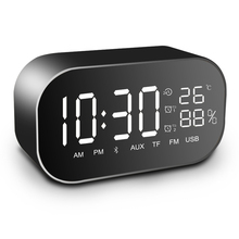 лучшая цена Tabletop FM Radio Stereo Speaker with Led Display USB Multifunction Bluetooth Speaker Alarm Clock Support Aux-IN/TF card