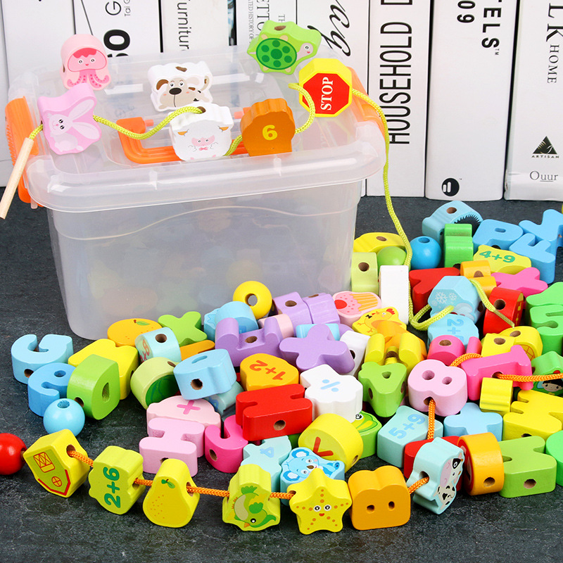 Infant Child Educational Toy Threading Wear Beads Beaded Bracelet Building Blocks Toy GIRL'S And BOY'S 1-2-3 A Year Of Age Baby