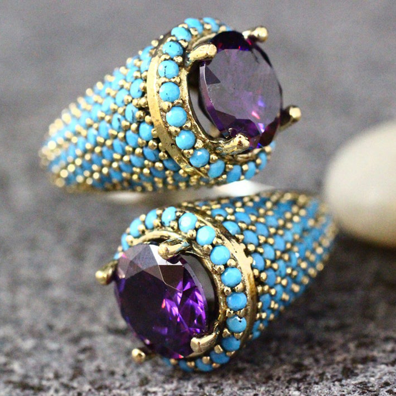 Vintage Gold Color Turquoises Beaded Opening Ring For Women Girls Punk Gothic Party Retro Purple Zircon Jewelry Gift G4M853