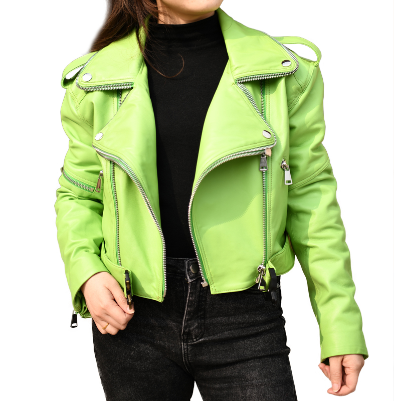 Woman Coats Natural Sheepskin Leather Jacket Fashion Female Motorcycle Jackets Zipper Cool Belt Real Sheepskin Leather Jackets
