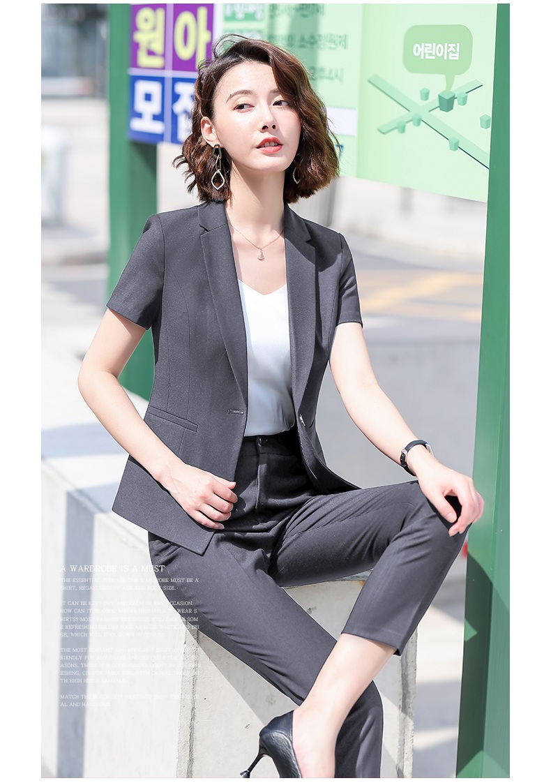 Female Elegant Formal Office Work Wear Summer Black Blazer Women Business Pant and Jacket Suits Set Ladies Clothes Short Sleeve