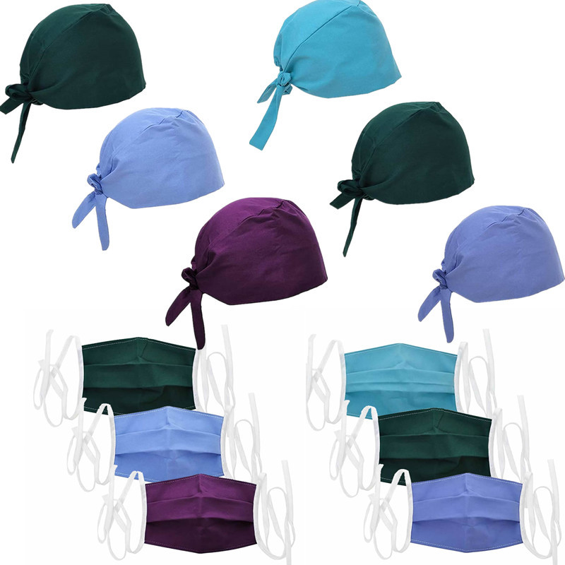 Women Men Scrub Cap Lab Unisex Adjustable Cotton Solid Color Reuseable Sweatband Surgical Caps Nurse Doctor Work Hats Masks Set