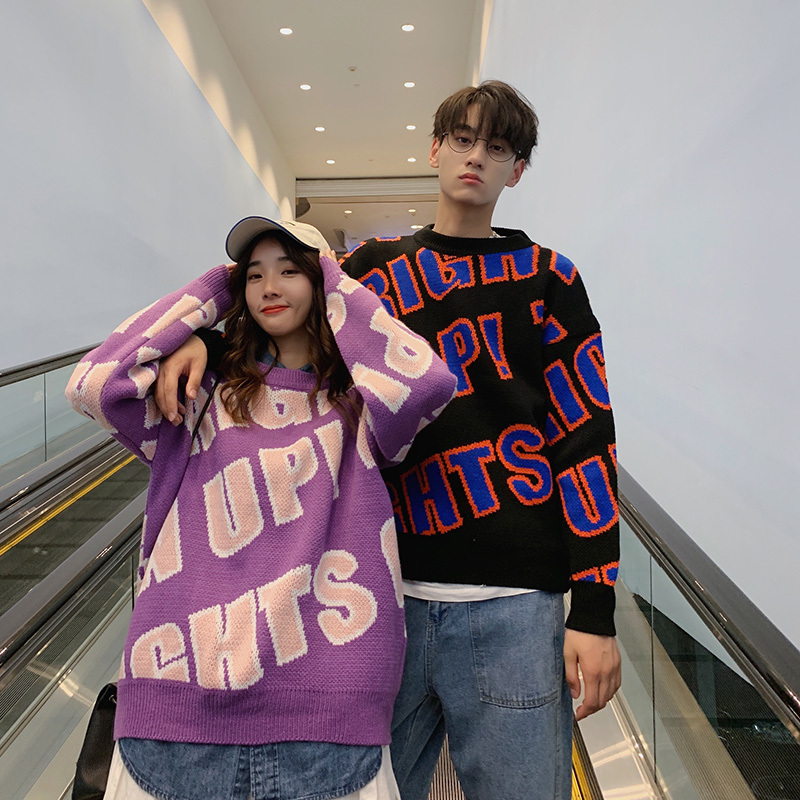 Winter New Sweater Men Warm Fashion Letter Printing Casual O-neck Knit Pullover Street Wild Loose Couple Sweater Male Clothes