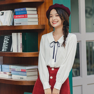 Image 3 - INMAN 2020 Autumn New Arrival Literary Style Cotton  Bow Tie Turn Down Collar Single Buttons Women Elegant Blouse