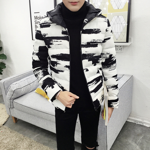Image 2 - Winter Hooded Jacket Men Short Parka Black White Casual Warm Coat Thick Cotton Padded Jacket Male Hooded Parkas