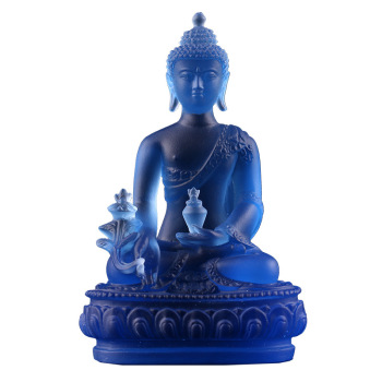 Buddha statue pharmacists lapis lazuli light 4 colours blue green white amber glaze gold medicine guru Buddha Buddhism statue in