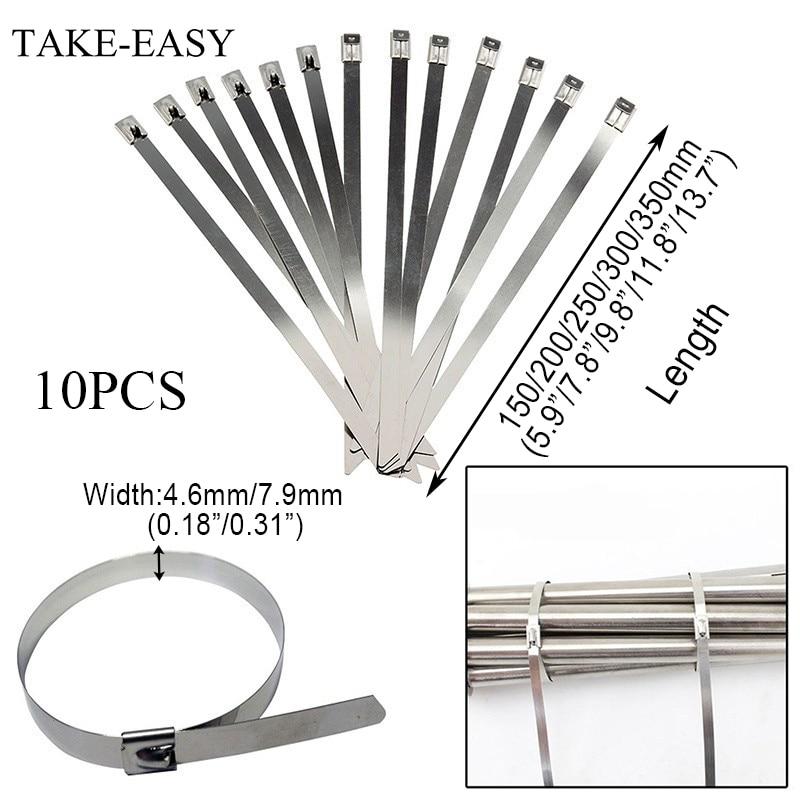 5//10PCS Stainless Steel Metal Cable Zip Ties Strap Locking Exhaust Pipe Header
