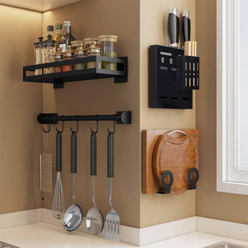 Kitchen Shelves Organizer Wall Hanging Non-Punching Kitchen Accessories Stainless Steel Storage Cosmetic Bathroom Storage Basket