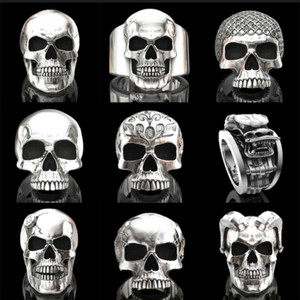NPKDS Stainless Steel Rings for Men Ghost Head Skull Ring Punk Rock Hip-hop Jewelry Accessories