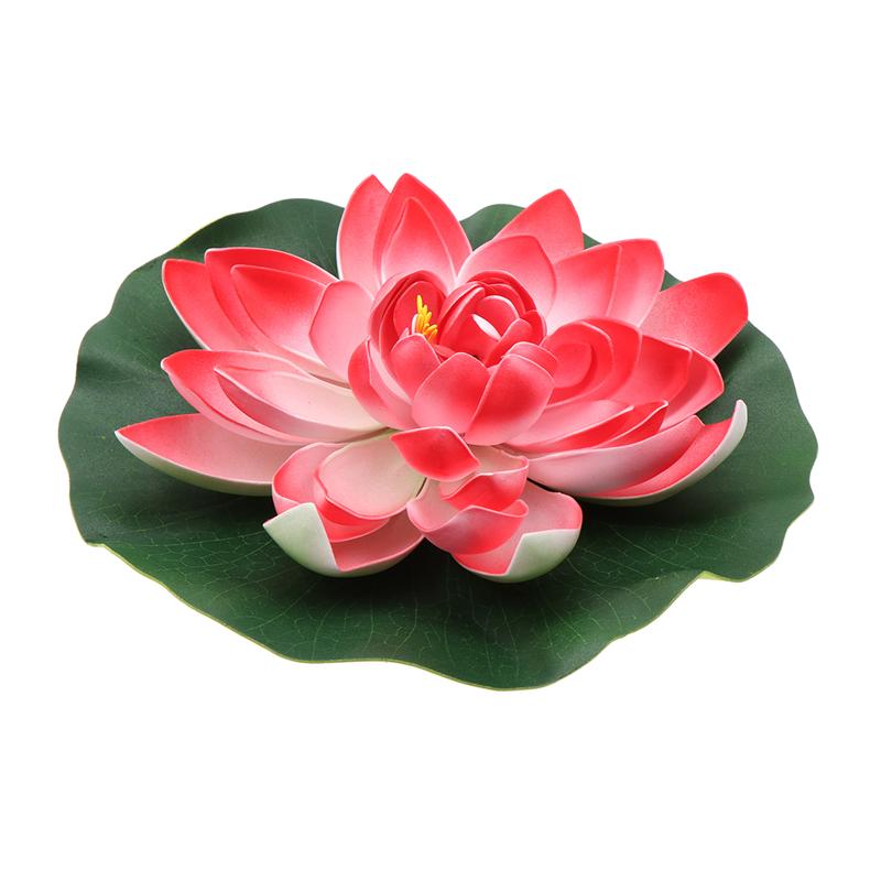 Artificial Floating Water Lily EVA Lotus Flower Pond Decor 28cm Pool Simulation Lotus Wedding Decoration Plants Water Lily