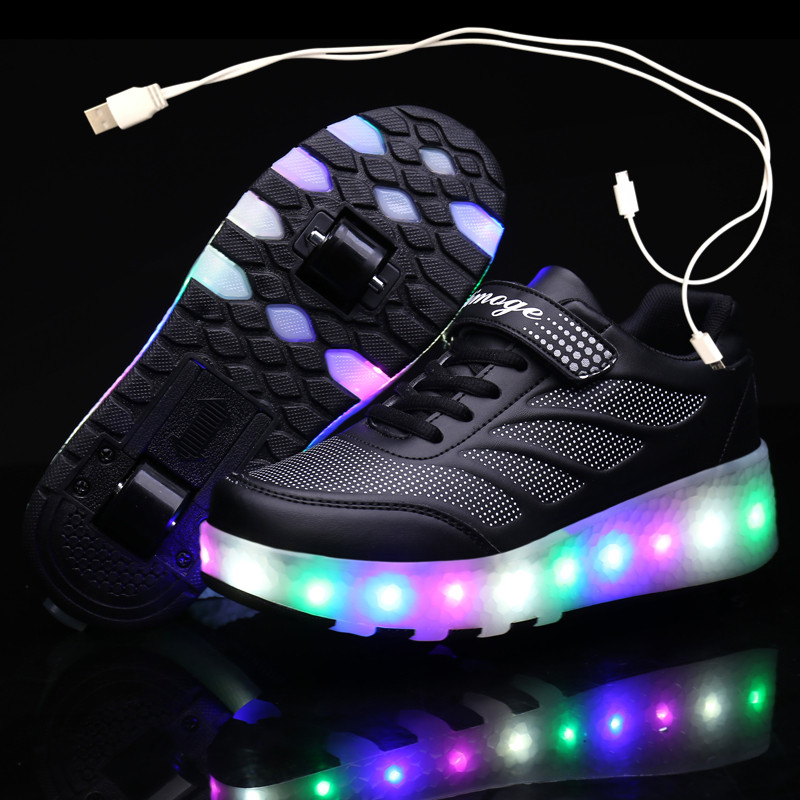 Зарядка через USB черные два колеса светящиеся кроссовки со светодиодной подсветкой светильник Роликовых Коньках Обувь для детей; Обувь со с...