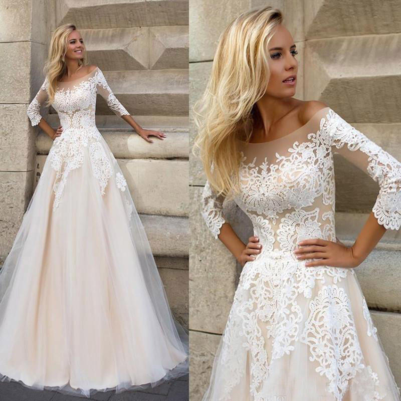 LORIE  Wedding Dresses 2019 Elegant 3/4 Sleeves Sweep Train Plus Size Bridal Dress Custom Champagne Boho Wedding Gown