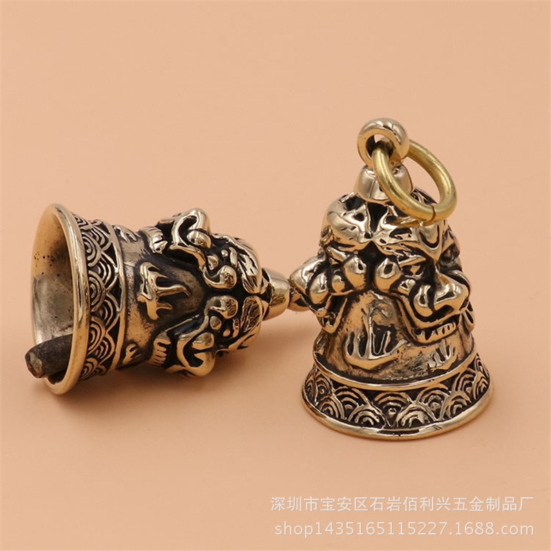 Pure Brass Three Lions Copper Bell Keychain Handmade Vintage Motorcycle Copper Feng Shui Bell House Protection Lucky Brings Safe