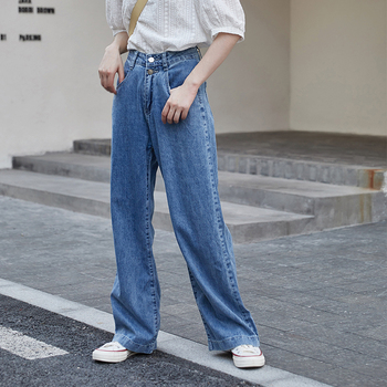New Women Summer loose jeans Casual Trousers Straight Denim pant Streetwear High Waist Wild Wide Leg Long Pants CF103 women high waist pants plus size long trouser female casual loose denim blue black wide leg pant work trouses