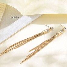 Korean Fashion Jewelry Personality Temperament Metal Tassel Earrings Bridal Earring Oorbellen For Women Long