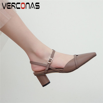 VERCONAS 2020 Ankle Strap Brand Design Woman Sandals Genuine Leather Woman Pumps Summer Square Toe Round High Heeled Shoes Woman